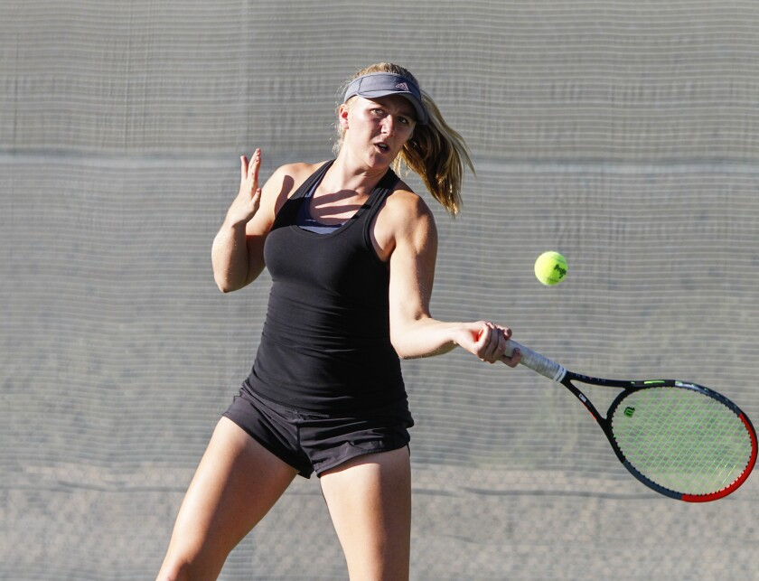 Canyon Crest's Emily Fowler (pictured) and partner Lillia Finnegan won their three doubles sets in the Ravens' win over Westview for the Open Division championship on Thursday.