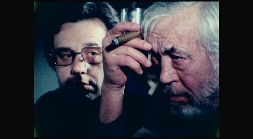 "(L-R) - Peter Bogdanovich and John Huston in Orson Wells' ""The Other Side Of The Wind."" Credit: NETF"