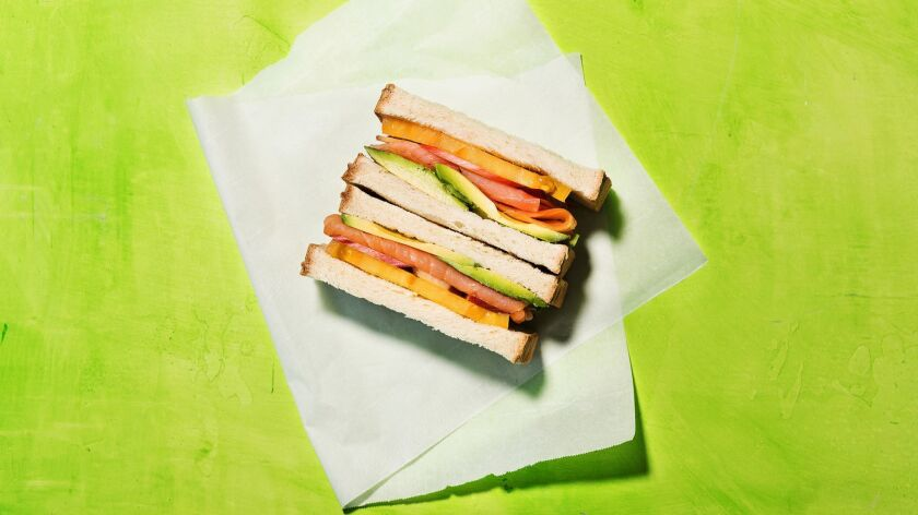 LOS ANGELES - THURSDAY, APRIL 25, 2019: Smoked salmon sando cooked/styled by Genevieve Ko and proppe