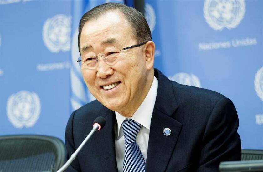 El secretario general de la ONU, Ban Ki-moon, habla con los periodistas. EFE/Archivo