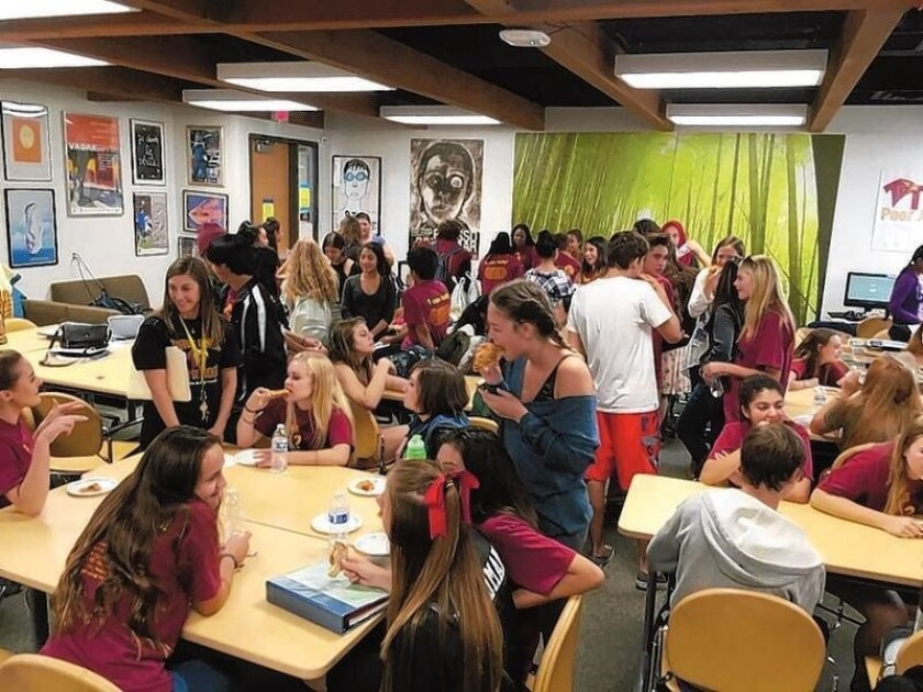 Torrey Pines PALS host a pizza lunch to welcome new students.