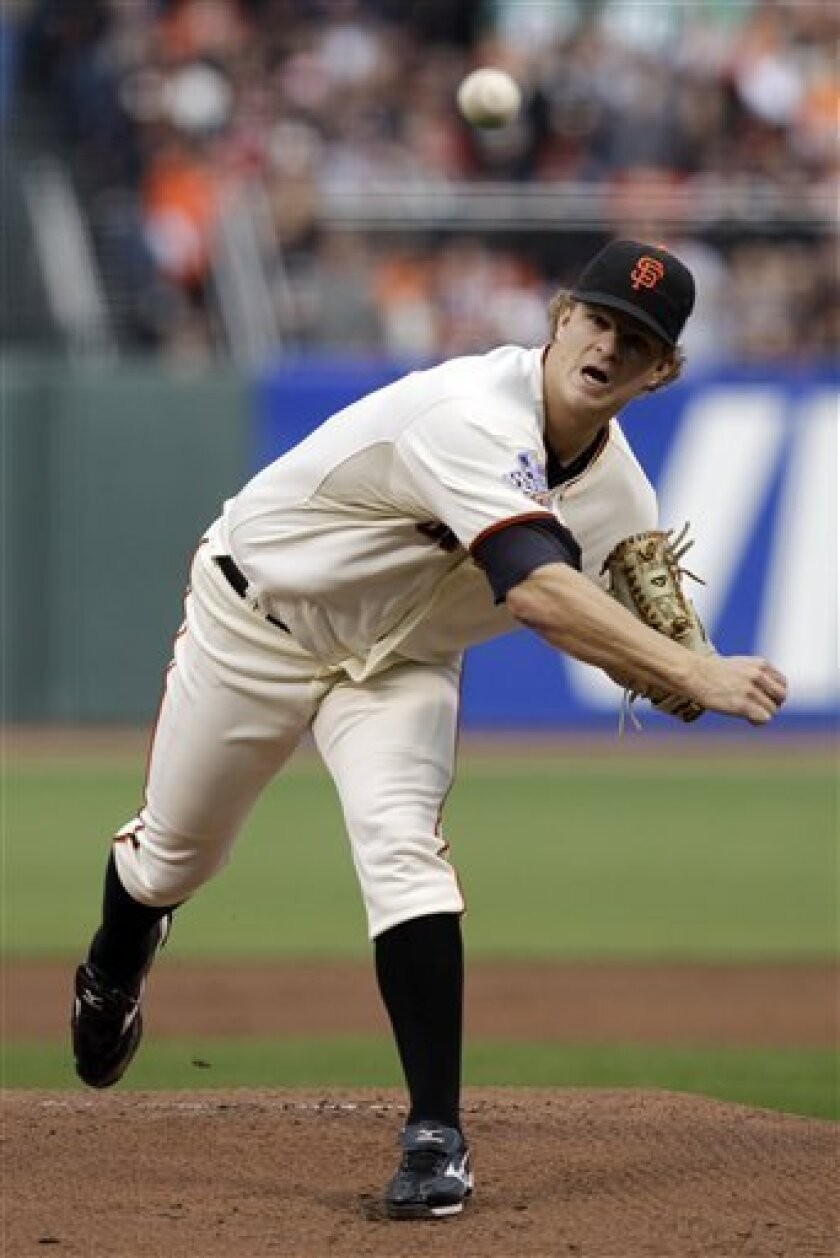 San Francisco Giants' Matt Cain throws during the first inning of Game 2 of baseball's World Series against the Texas Rangers Thursday, Oct. 28, 2010, in San Francisco. (AP Photo/Jeff Chiu)