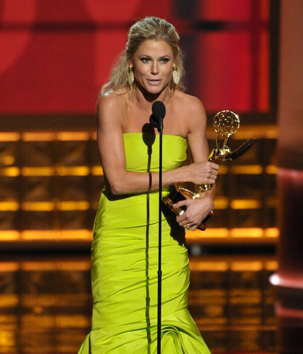 """Julie Bowen spent much of her time backstage extolling the virtues of Sofia Vergara, saying her costar inspired her to wear a form-fitting neon green fishtail dress. Plus, Bowen added: """"[Sofia] doesn't get the credit she deserves as an actress -- she gets it as a celebrity ... but only a few of us understand that what she does is not play herself."""" As for those infamous nipple covers Bowen mentioned so many times during her speech, Bowen said she wanted to reference """"those little bits of rubber"""" to get rid of some of """"the artifice"""" of Hollywood. """"We don't pretend to be important in the way international events are,"""" she said. """"But I love that Ann Romney and Michelle Obama said 'Modern Family' was their favorite show. That means our show is a place where people can sit on the couch and laughing is the only thing that matters."""""""