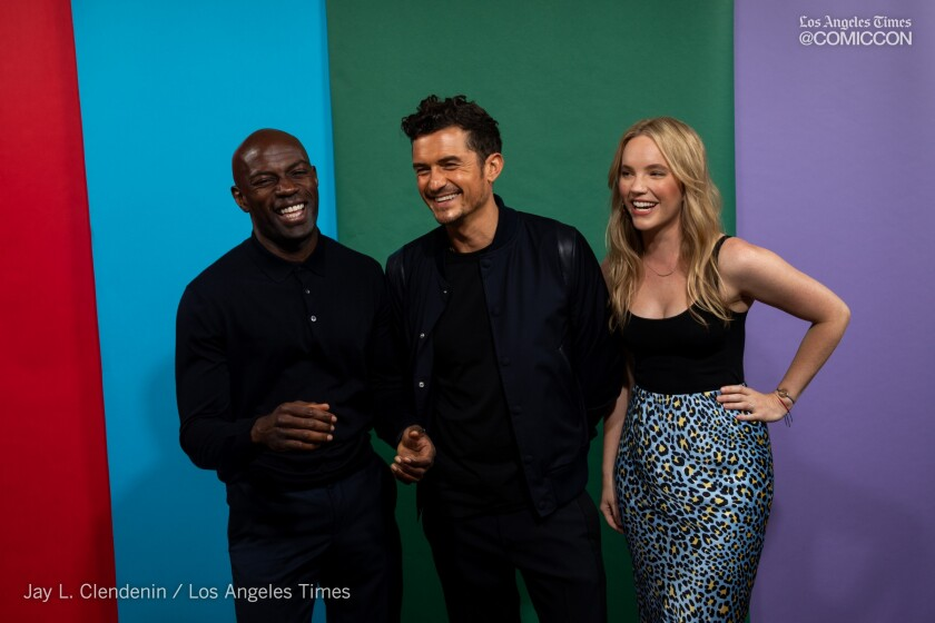 David Gyasi, Orlando Bloom and Tamzin Merchant