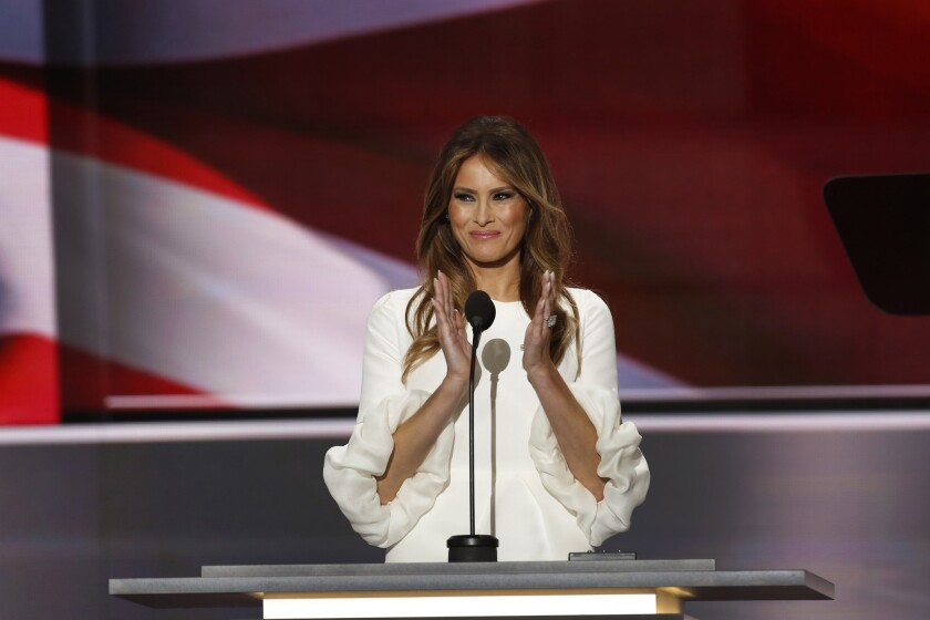 Melania Trump speaks during the Republican National Convention in July.