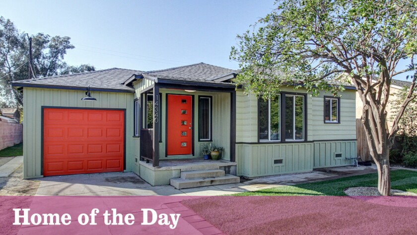 The Hipster-ready house in Panorama City catches the eye with colorful accent doors.