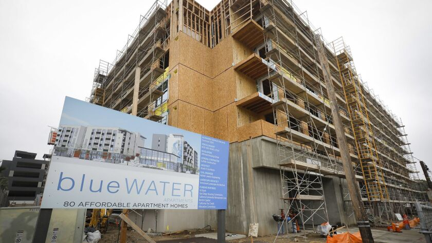 SAN DIEGO, CA 1/17/2019: Bluewater, the 80 apartment home complex being built at the corner of Fairm