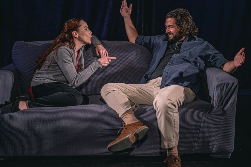 """Heather Warren and Russell Clements in Coronado Playhouse's filmed production of """"Constellations."""""""
