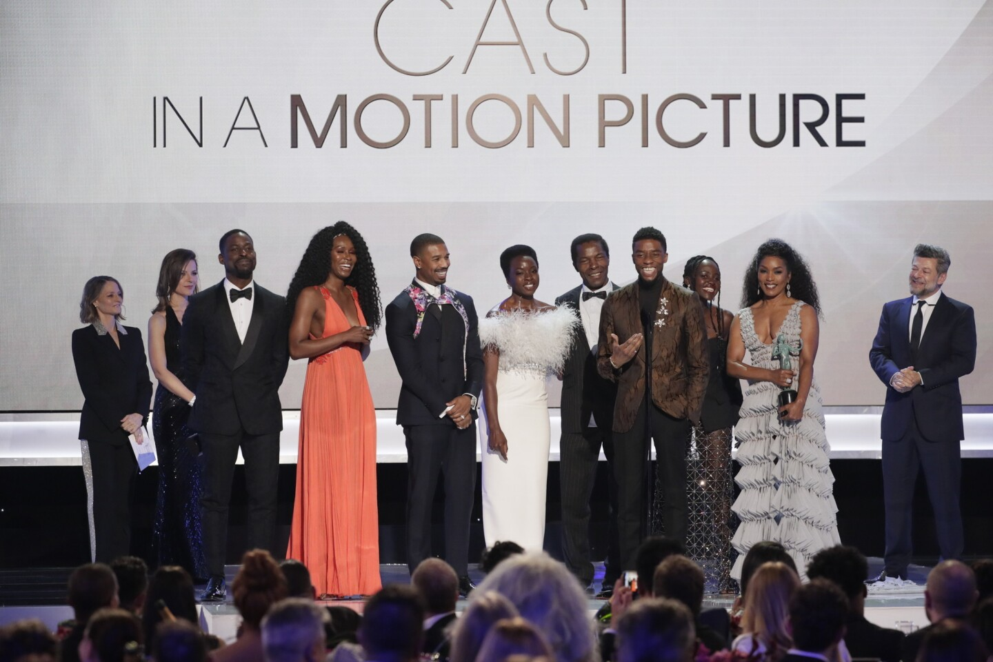 "The cast of ""Black Panther"" accepts the prize for Outstanding Performance by a Cast in a Motion Picture onstage during the show at the 25th Screen Actors Guild Awards at the Shrine Auditorium and Expo Hall."