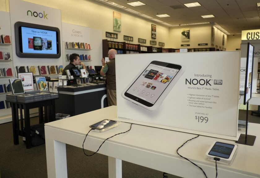 Nook tablets on display at a Barnes & Noble store in Los Angeles.