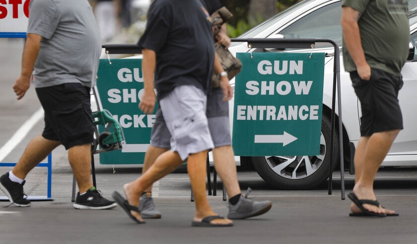 Patrons head into the Crossroads of the West Gun Show at the Del Mar Fairgrounds in 2018.