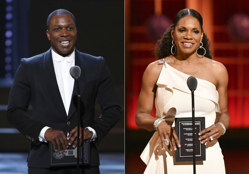 Leslie Odom Jr. and Audra McDonald separately present an award at the Tony Awards in New York