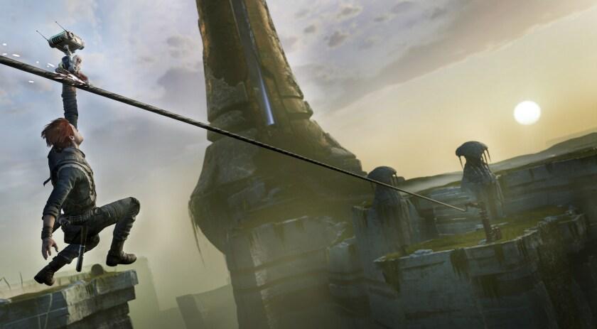 """Jedi Cal Kestis on a zipline in """"Star Wars Jedi: Fallen Order,"""" set before Luke Skywalker arrives to destroy the Death Star."""