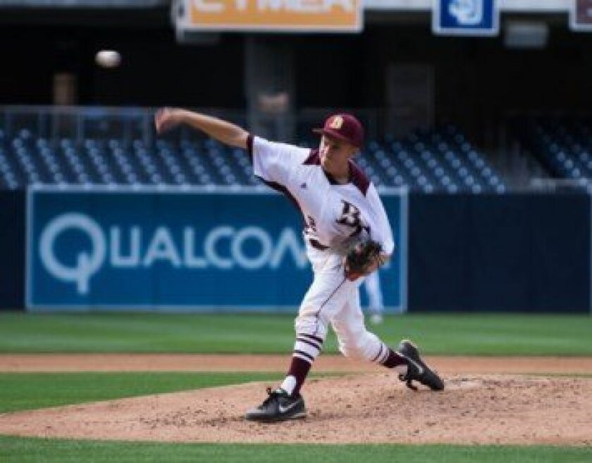 Starter Robby Schreiber delivers on the mound at Petco Park in The Bishop's School Knights' league opener versus Santa Fe Christian.  Photos by Ed Piper