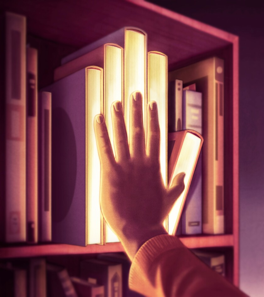 Reach out and touch a book.