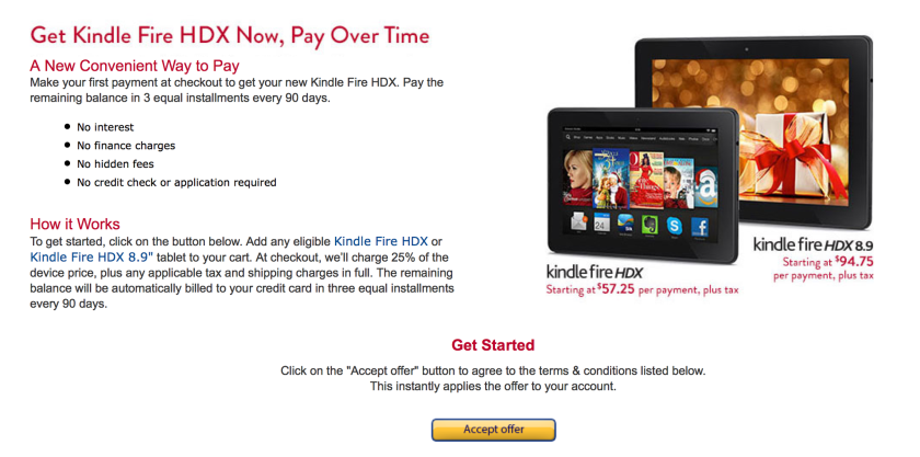 Amazon offers Kindle Fire HDX on no-interest installment