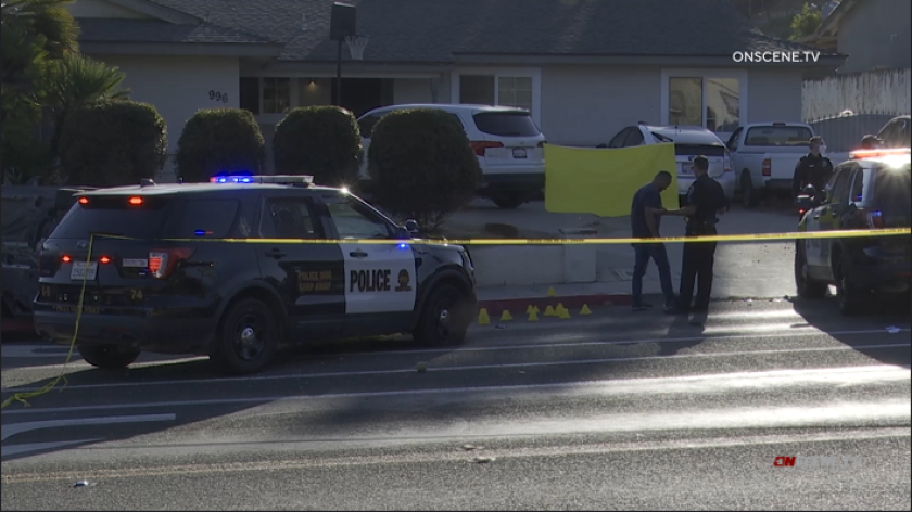 Chula Vista police shot a wanted suspect who they said carjacked a driver at gunpoint and then led officers on a pursuit.