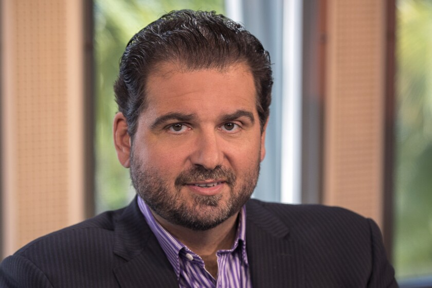 Dan Le Batard on the set of ESPN's Highly Questionable in Miami, Fla., in 2014.
