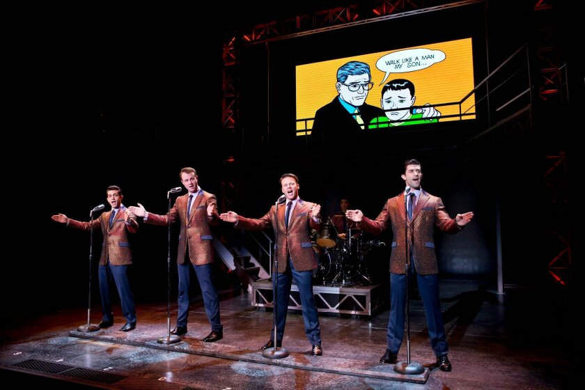 """Hayden Milanes, Quinn VanAntwerp, Nicolas Dromard and Adam Zelasko (left to right) in the touring production of """"Jersey Boys."""""""