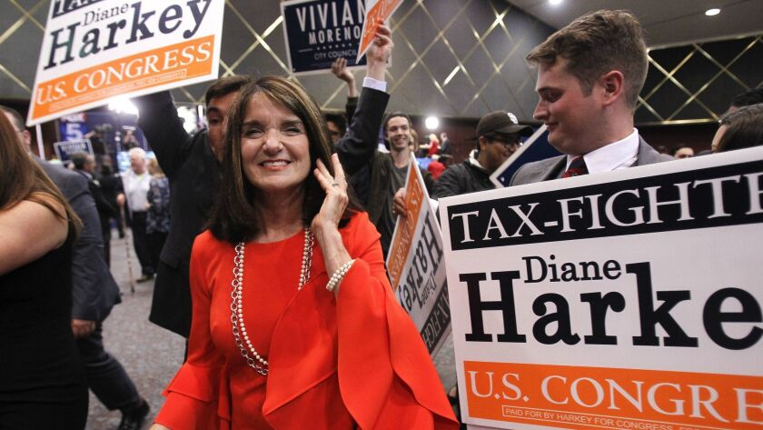 Diane Harkey, candidate for the 49th Congressional District, with her supporters in Golden Hall in San Diego on Election Night.