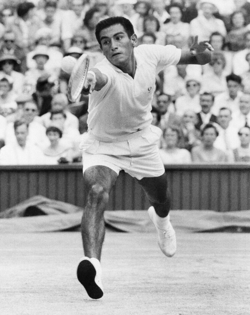 Alex Olmedo, pictured at Wimbledon in 1959, went on to teach tennis at the Beverly Hills Hotel.