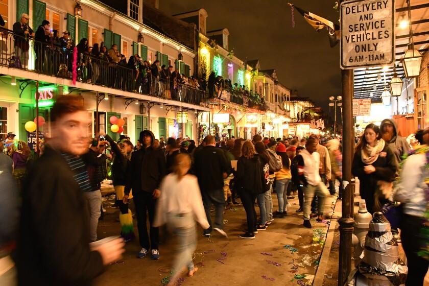 Mardi Gras week, Bourbon Street, New Orleans.