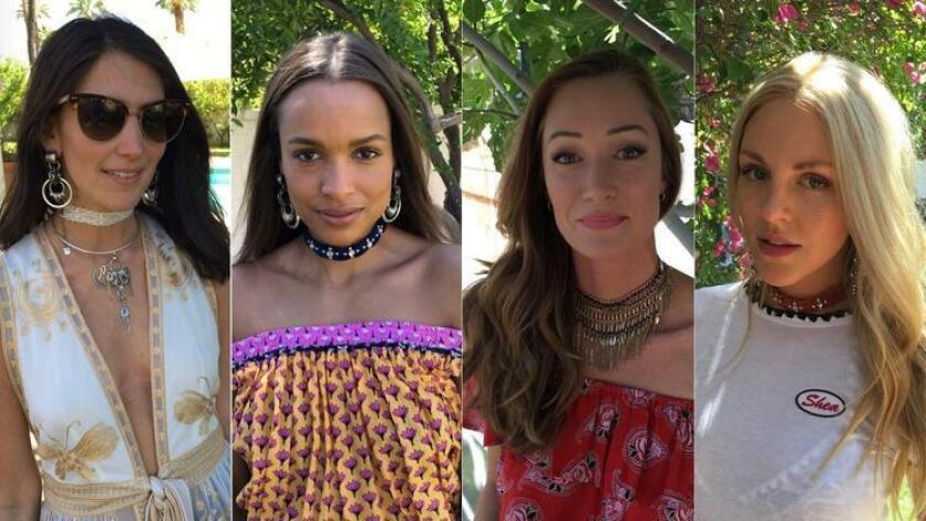 Jodie Snyder Morel, Frances Aaternir, Heather Worley and Shea Marie model chokers at the Bai Beverages Brunch with Dannijo, Diane von Furstenberg and Same Swim. (Marques Harper / L.A. Times)