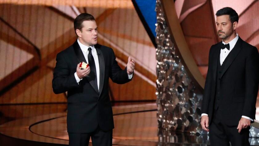 Matt Damon, left, and Jimmy Kimmel at the 68th Primetime Emmy Awards on Sept. 18, 2016.