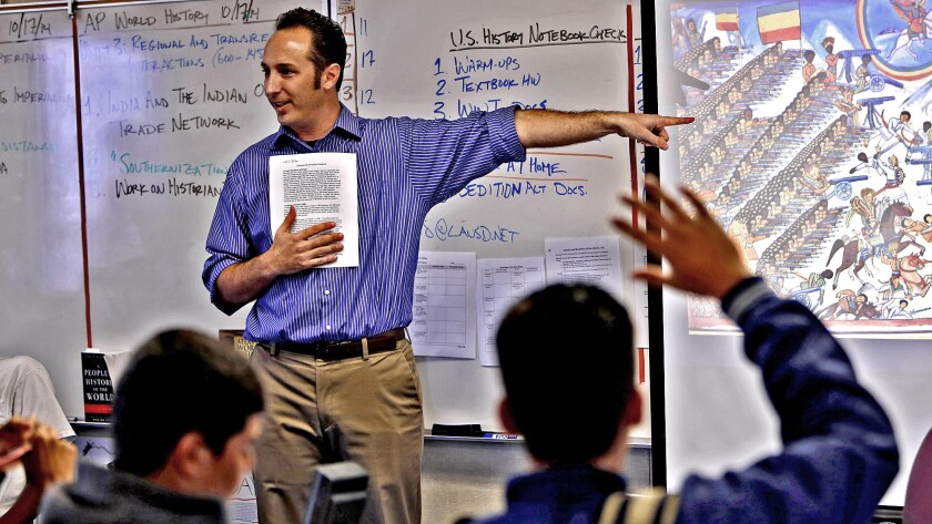 "Daniel Buccieri teaches World History at Venice High. ""History isn't a set of answers I'm passing down to kids,"" he says. ""It's more a set of questions and problems."""