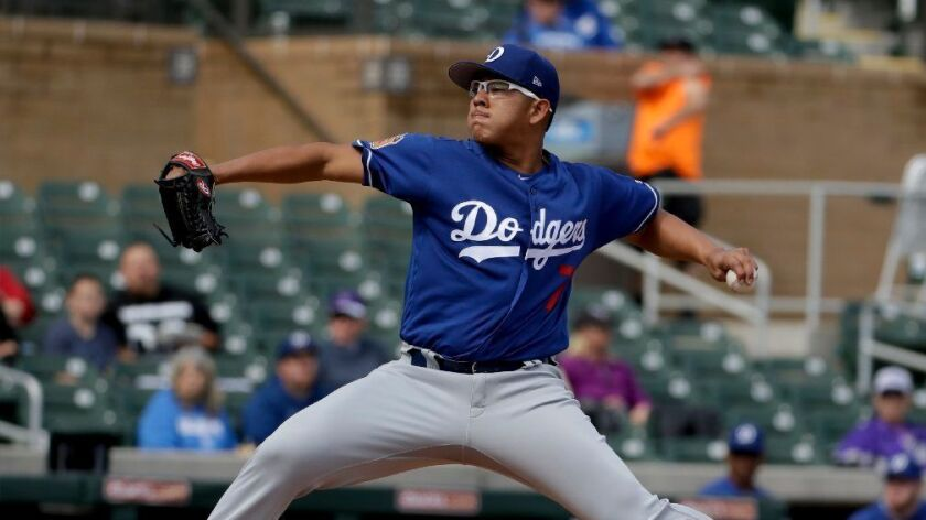 Dodgers left-hander Julio Urias pitches against the Colorado Rockies during a spring training game on Feb. 28.
