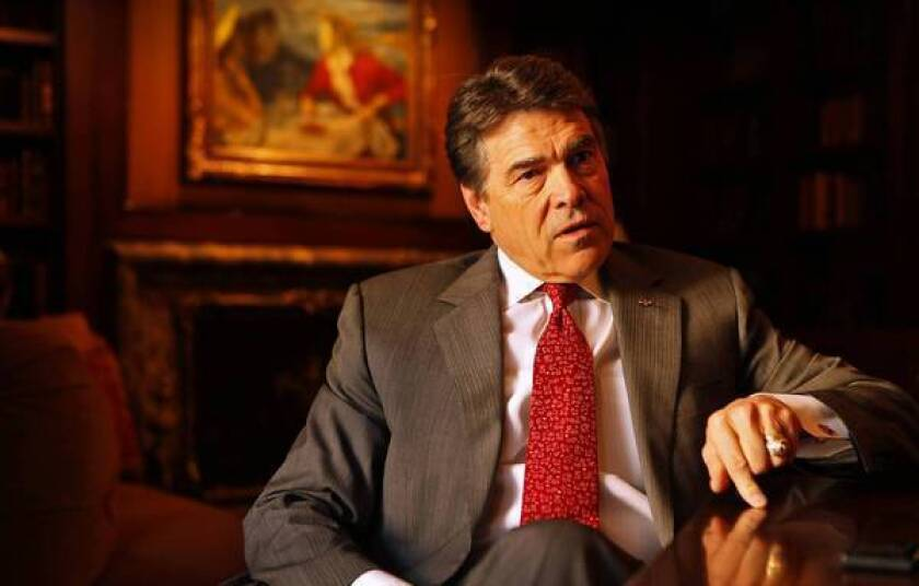 """You fish where the fish are,"" says Texas Gov. Rick Perry, talking about his campaign to lure California businesses to his state during an interview in Beverly Hills."