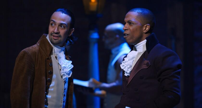 "Lin-Manuel Miranda, left, and Leslie Odom Jr. in ""Hamilton"""