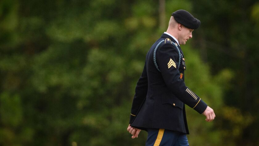 Sgt. Bowe Bergdahl leaves the Fort Bragg courthouse after a sentencing hearing on Monday, Oct. 23, 2