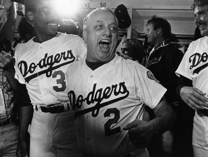 Dodgers manager Tommy Lasorda celebrates the team's National League Championship Series win in 1981.