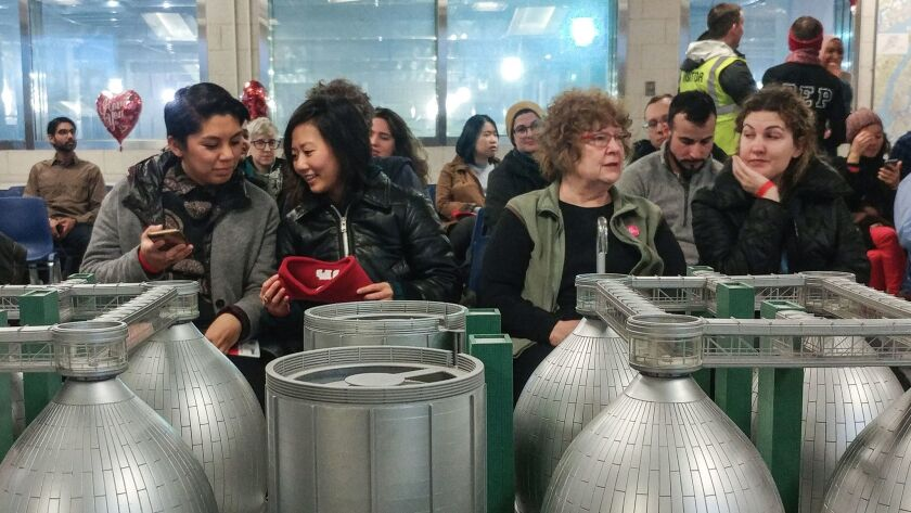 Participants gathered for a Valentine's tour at the Newtown Creek Wastewater Treatment Plant.