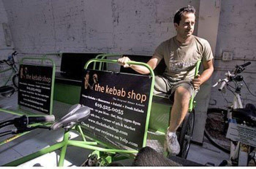 "Ali Horuz, a native of Turkey, runs VIP Pedicab. He calls pedicabs ""the safest ride in town.""  (Earnie Grafton / U-T)"