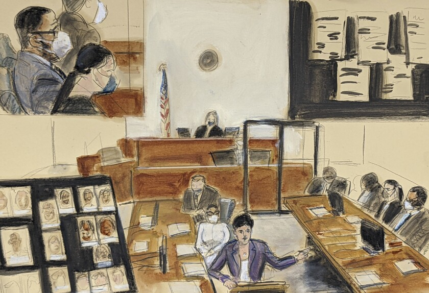 En esta ilustración hecha a partir de un video la fiscal asistente Nadia Shihata responde