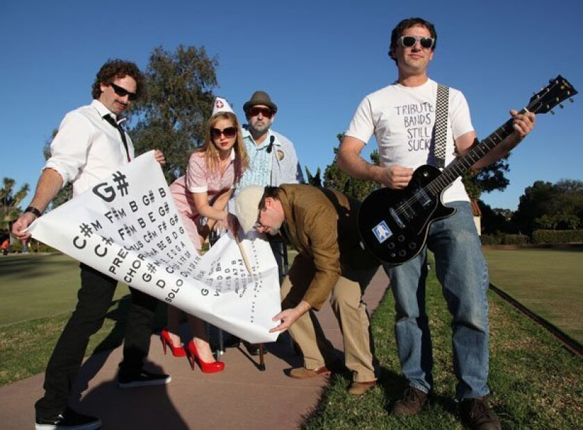 Cover Me Badd, left to right are Scott Hoover, Marissa Crane, Zachary Goode, Nas Helewa, and Adam Gimbel at the Lawn Bowling area of Balboa Park.