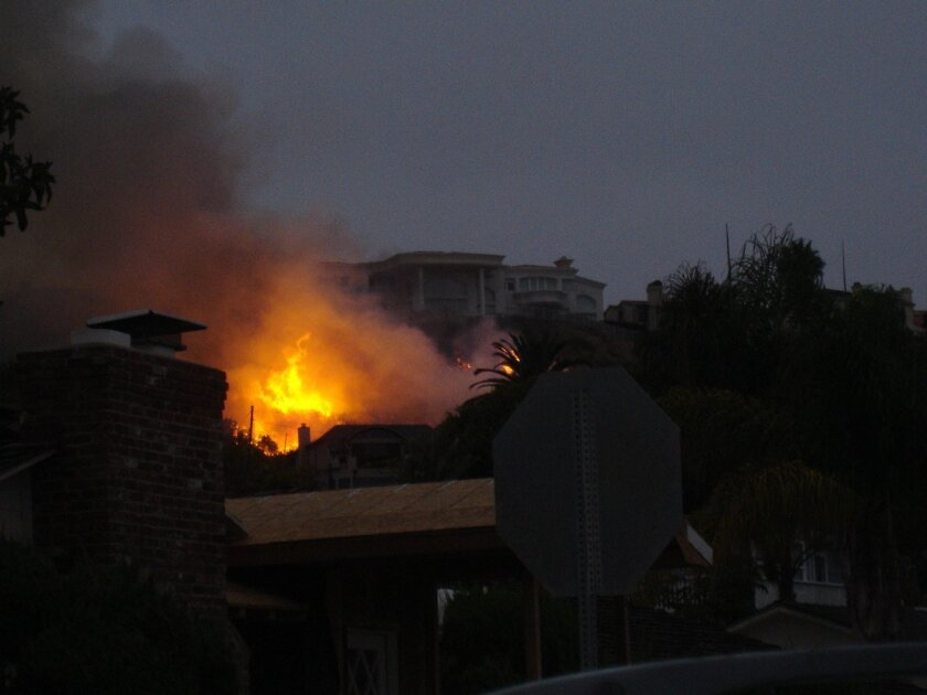 Flames could be seen from Bird Rock on Monday evening. Photo: Courtesy