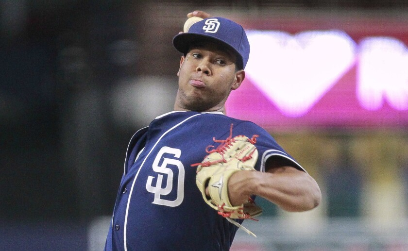Padres prospect Anderson Espinoza pitches to the Texas Rangers prospects during the Padres Futures Game at Petco Park.