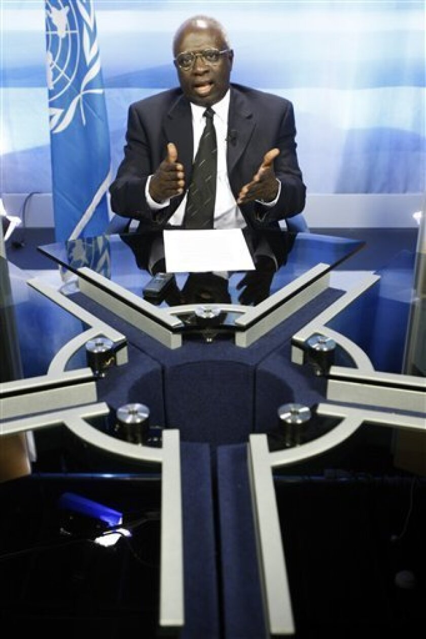 Food and Agriculture Organization of the United Nations (FAO) Secretary-General Jacques Diouf, gestures during an interview with APTV in FAO's headquarters in Rome, Monday Oct. 12, 2009. (AP Photo/Pier Paolo Cito)