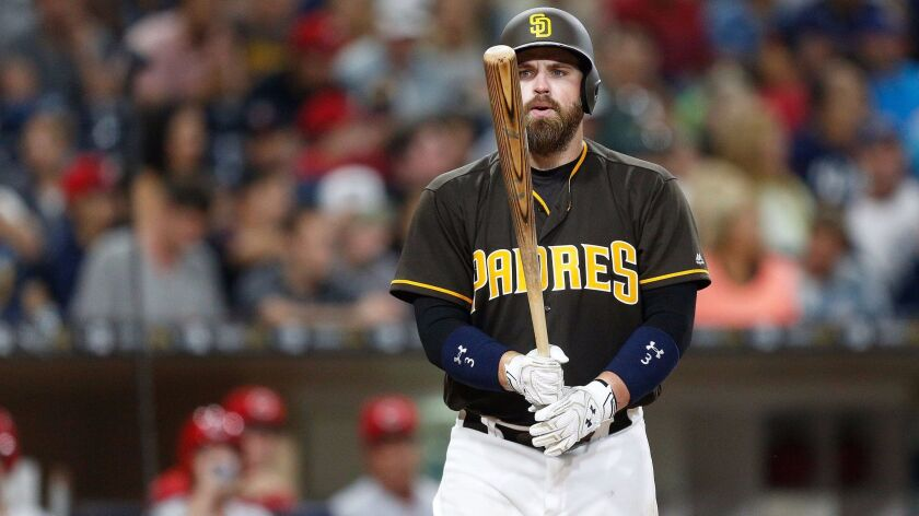 San Diego Padres catcher Derek Norris steps up to the batting plate against the Reds at Petco Park on July 29, 2016.