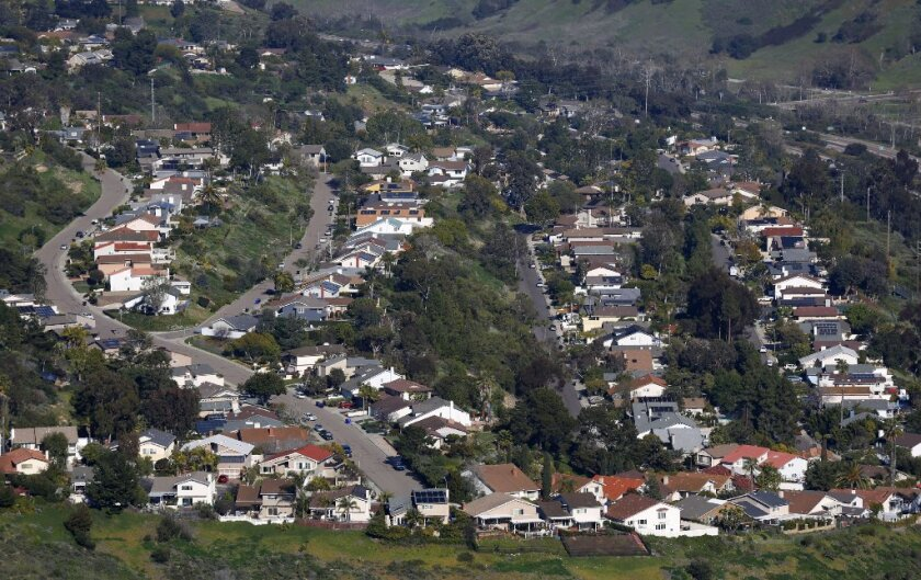Houses line the canyons in University City. The San Diego metro area has been at the bottom of the Case-Shiller 20-city index for three months.