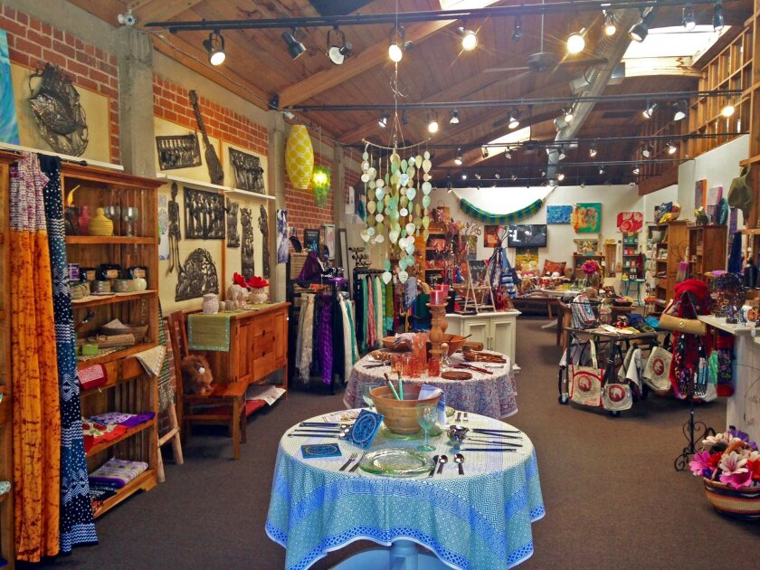 A colorful variety of wares at Fair Trade Décor in Del Mar, from hand-woven baskets to handcrafted soaps.