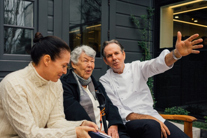 Laura Cunningham, Sally Schmitt and Thomas Keller at the French Laundry.
