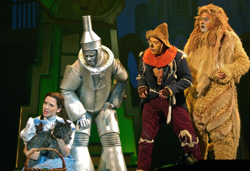 """Dorothy (Kate Bristol) and pals Tinman (Beau Hutchings), Scarecrow (Andrew Haserlat) and Lion (Jesse Coleman) seek out the Man Behind the Curtain in """"The Wizard of Oz."""""""