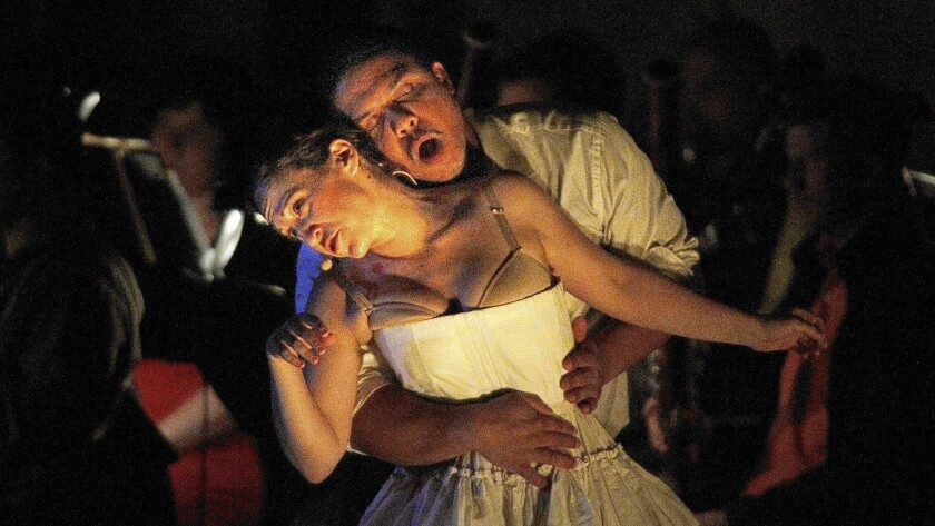 """Jennifer Zetlan, soprano, as Mozart/Donna Anna and Aubrey Allicock, bass-baritone as Tonic/Participant 2/Don Giovanni in Steven Stucky's opera """"The Classical Style"""" for the Ojai Festival at Libby Bowl in Ojai."""