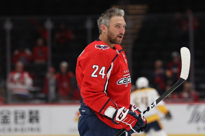 Washington Capitals star Alex Ovechkin pays tribute to Kobe Bryant by wearing No. 24 during warmups before a game against the Nashville Predators.