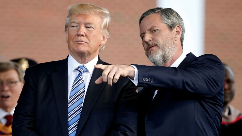 President Trump with  Jerry Falwell Jr. in 2017.