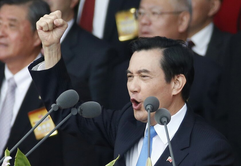 FILE - In this Oct. 10, 2015 file photo, Taiwan's President Ma Ying-jeou delivers the keynote speech during the National Day celebrations in Taipei, Taiwan.   Ma Ying-jeou will meet Chinese President Xi Jinping in Singapore on Saturday, Nov. 7, 2015,  to exchange ideas about relations between the t